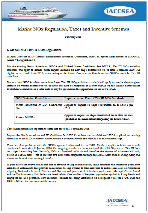 Marine NOx - Regulation Taxes and Incentives schemes