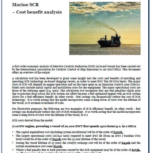 Marine SCR - Cost benefit analysis