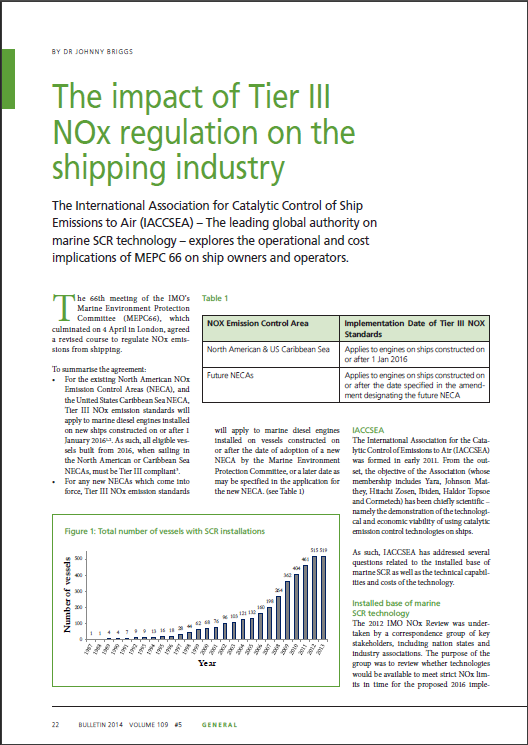 The impact of Tier III NOx regulation