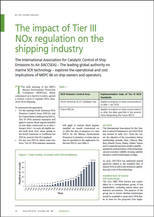 The impact of Tier III NOx regulation